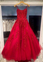 Burgundy lace tulle prom dress lace evening dress