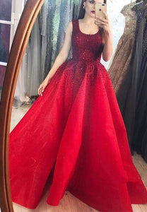 Burgundy A line beads long prom gown evening dress