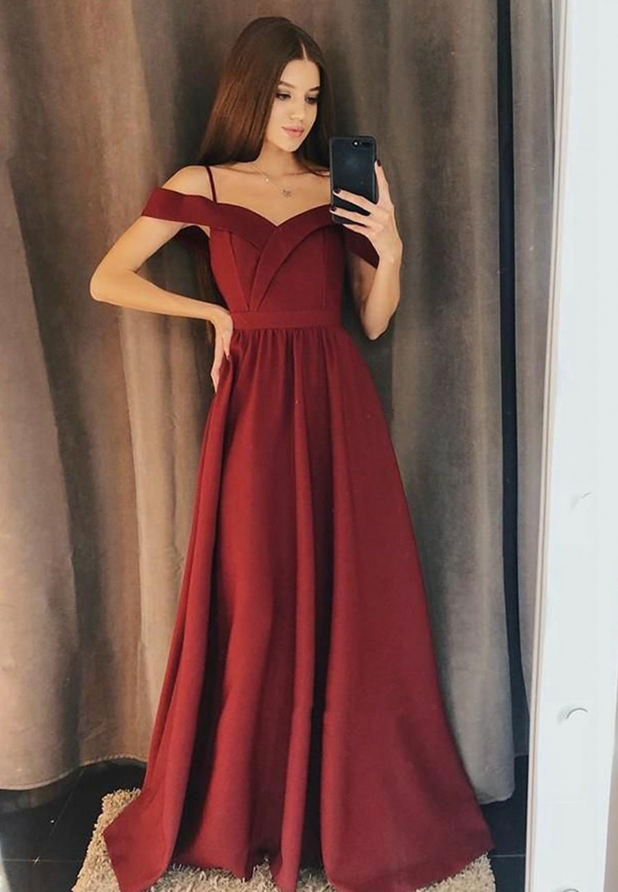 Burgundy satin prom dress simple evening dress