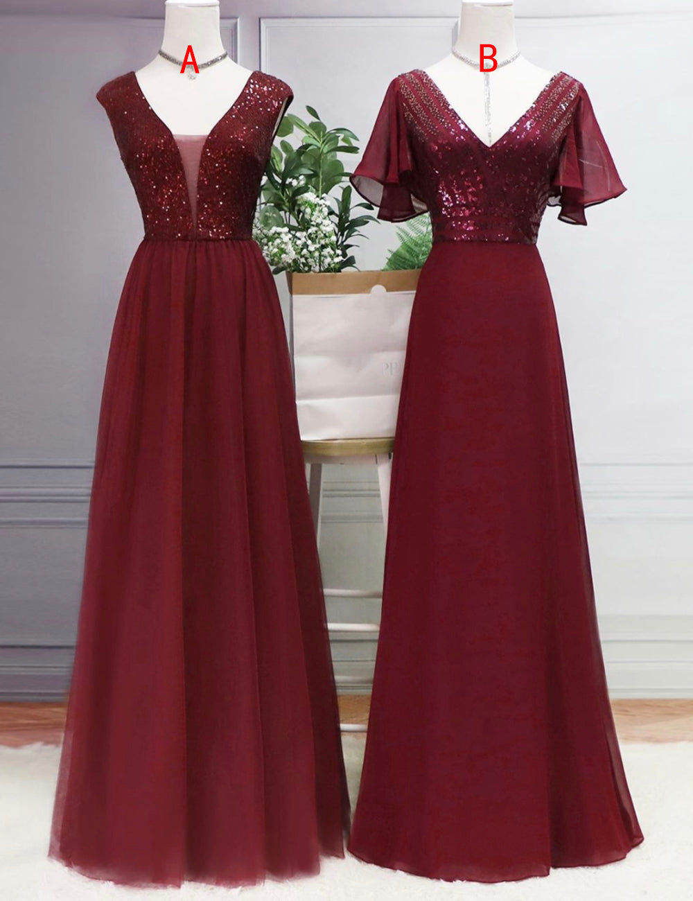 Burgundy v neck beads prom dress evening dress