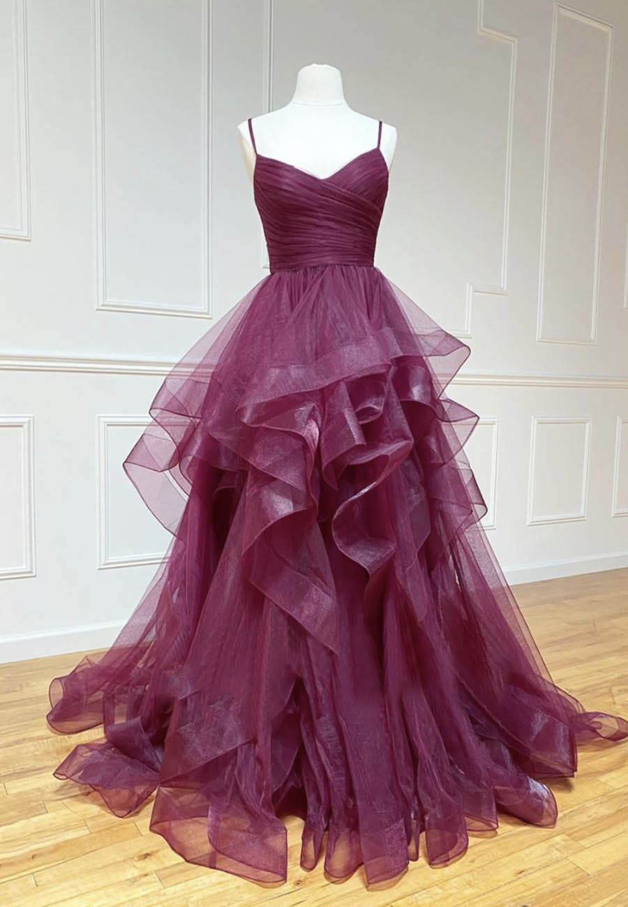 Stylish tulle long A line prom gown formal dress