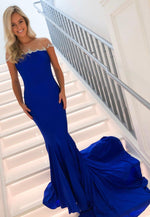 Mermaid blue long prom dress evening dress