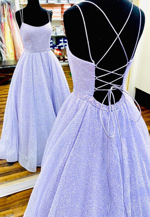 Purple tulle sequins long prom dress party dress