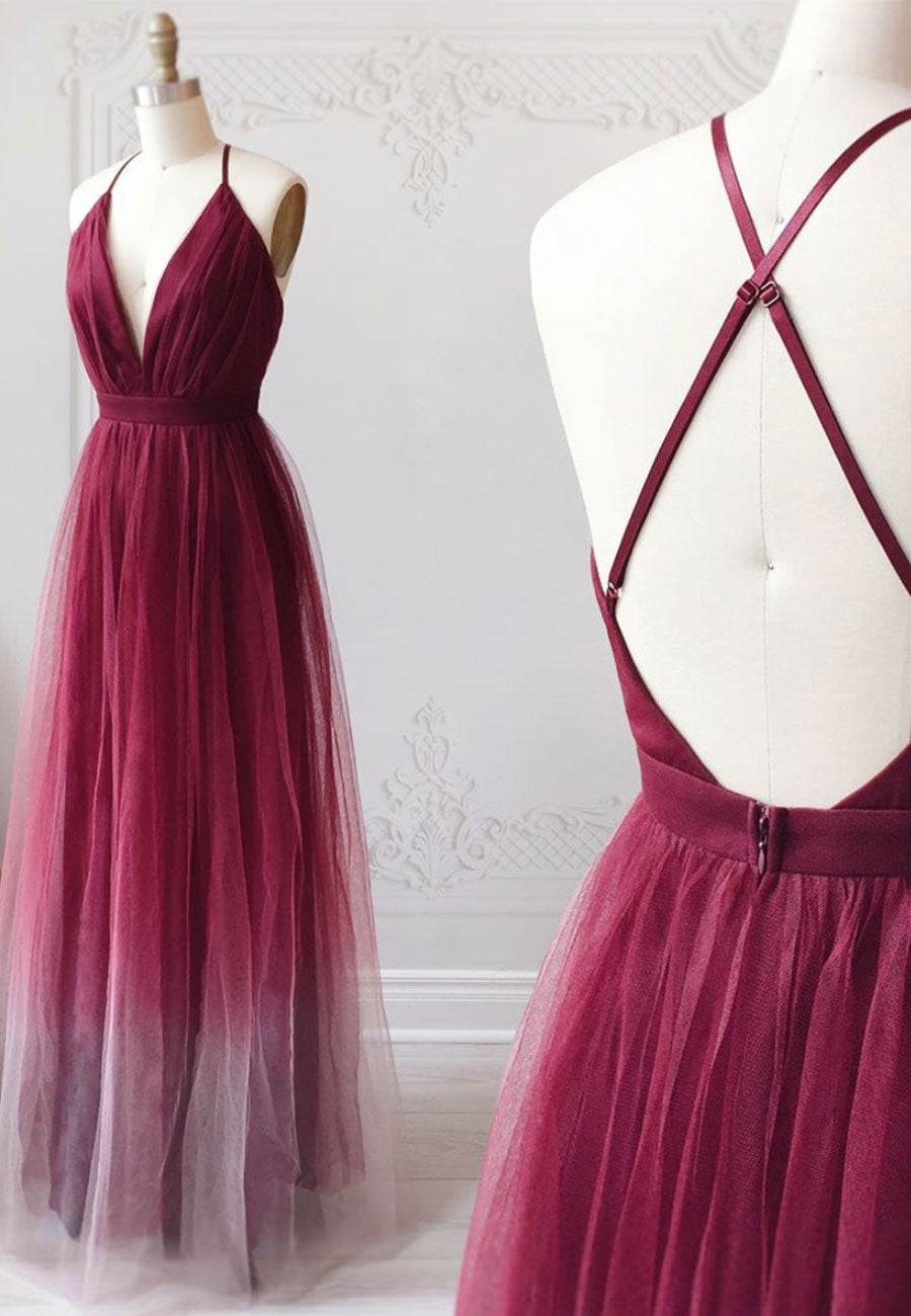 Burgundy v neck tulle long a line prom dress