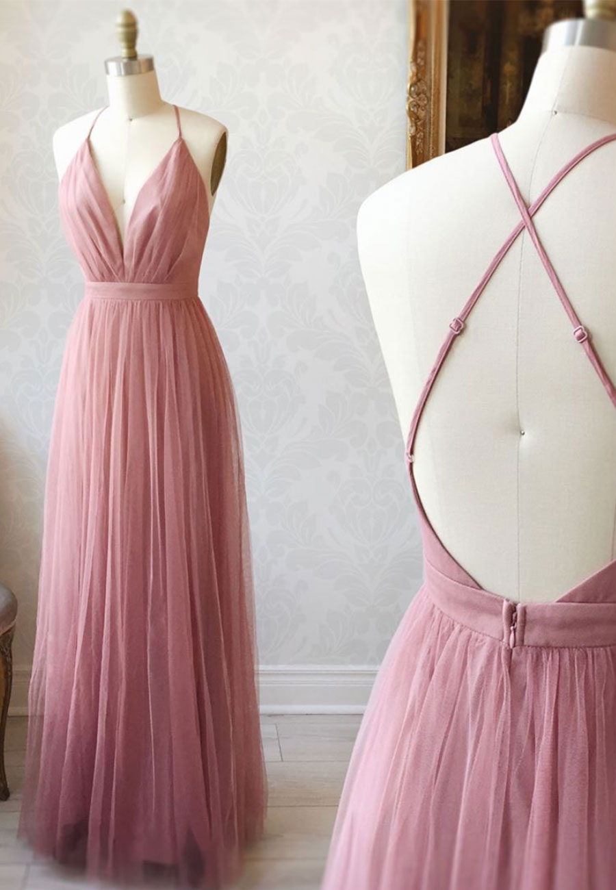 Simple v neck tulle long a line prom dress