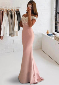 Pink lace long prom dress mermaid evening dress