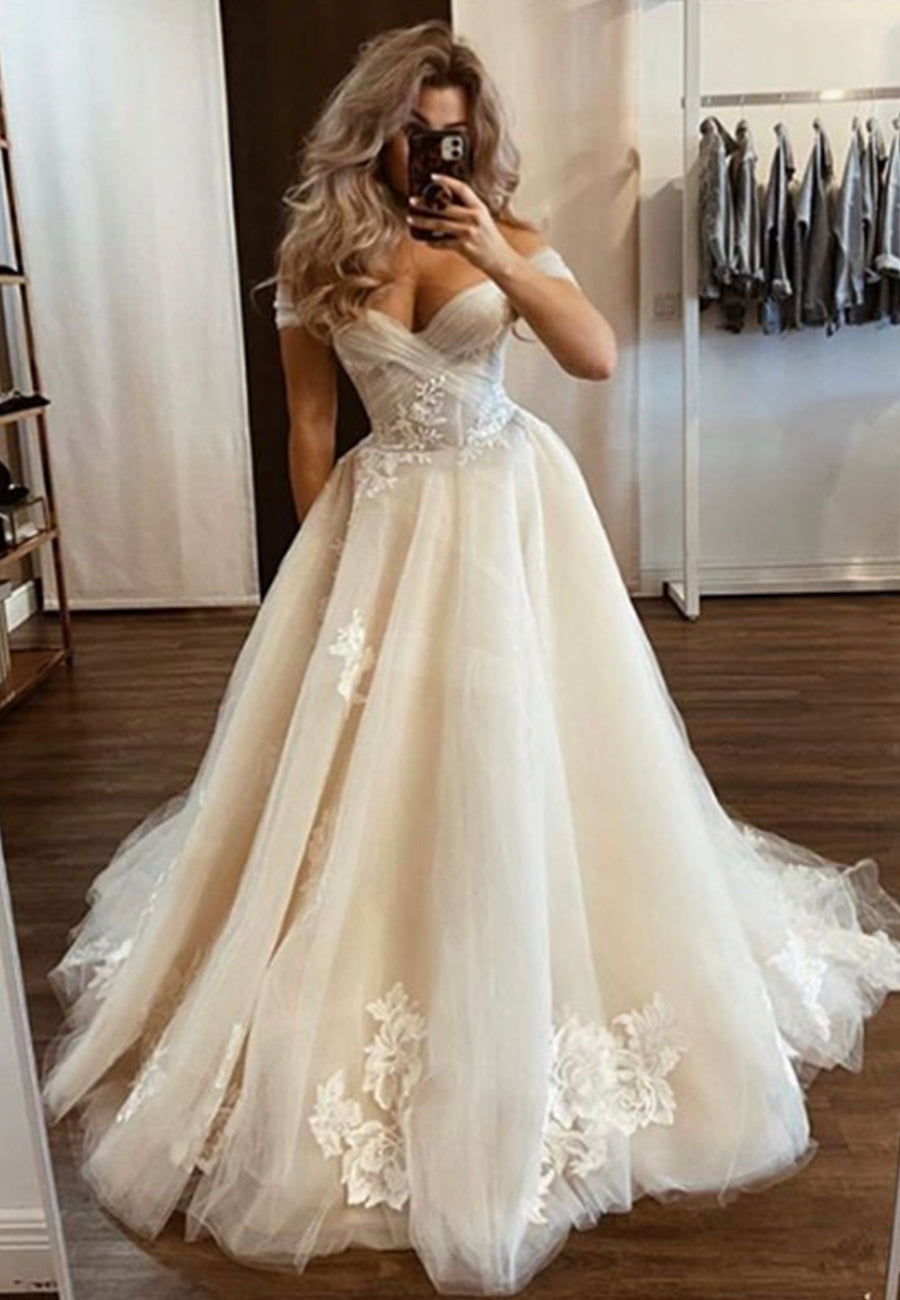 Champagne tulle lace long ball gown dress formal dress
