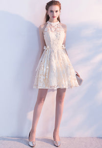 Champagne lace short prom dress homecoming dress