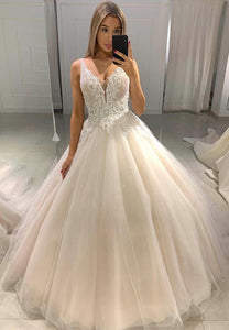 Light champagne tulle lace prom dress formal dress