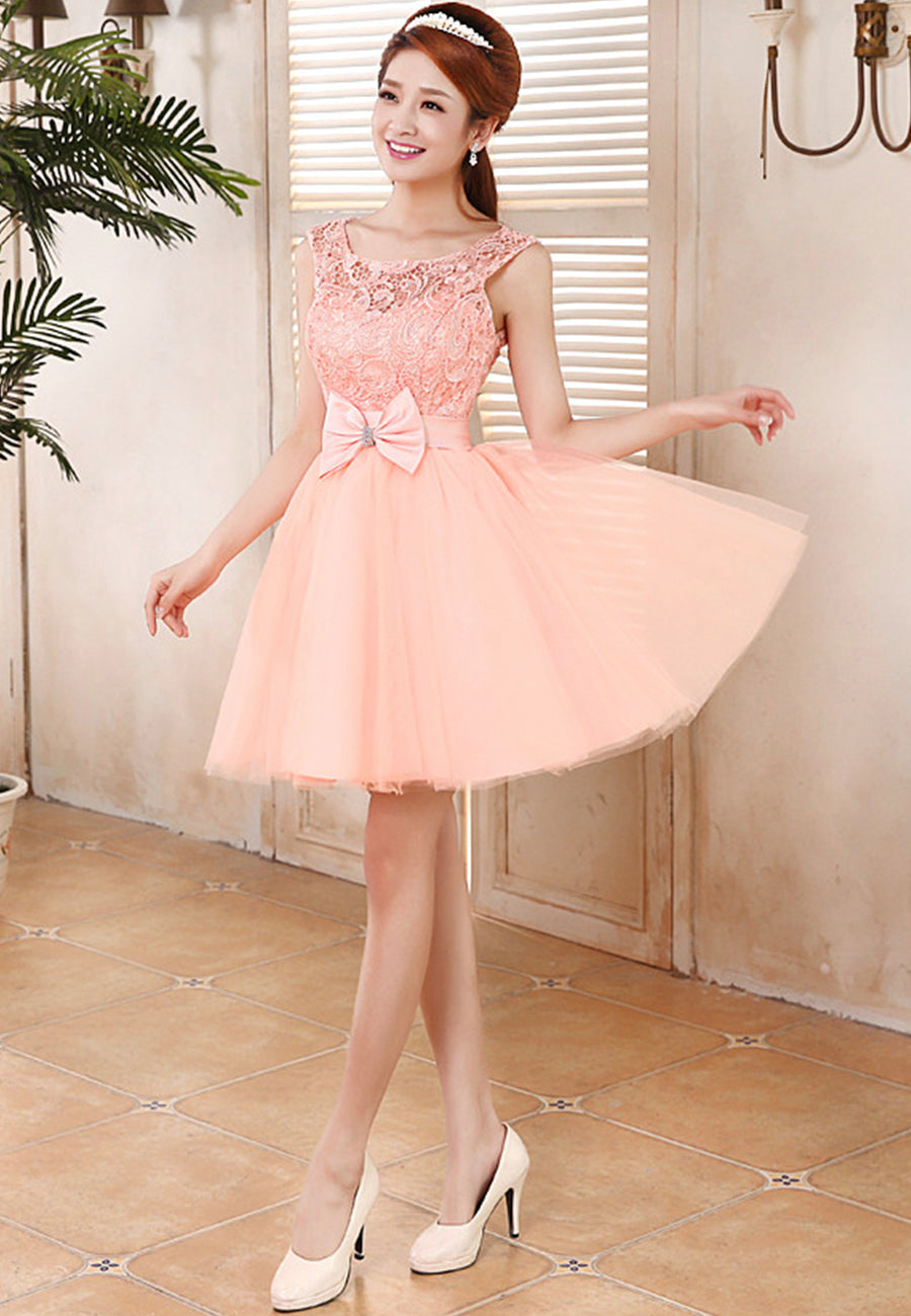 Lovely tulle lace short prom dress homecoming dress