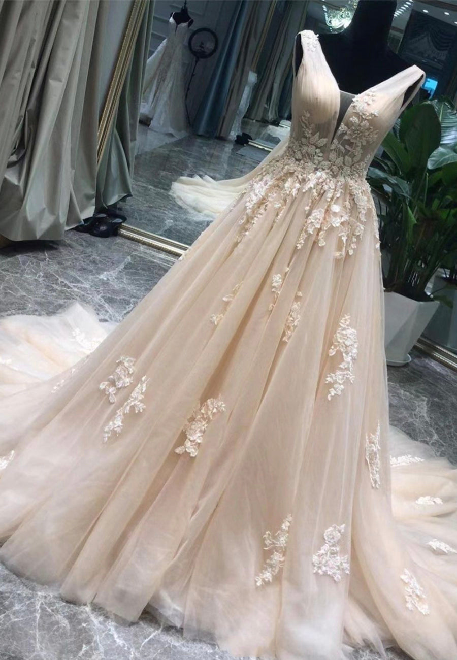A line v neck tulle lace long prom dress evening dress