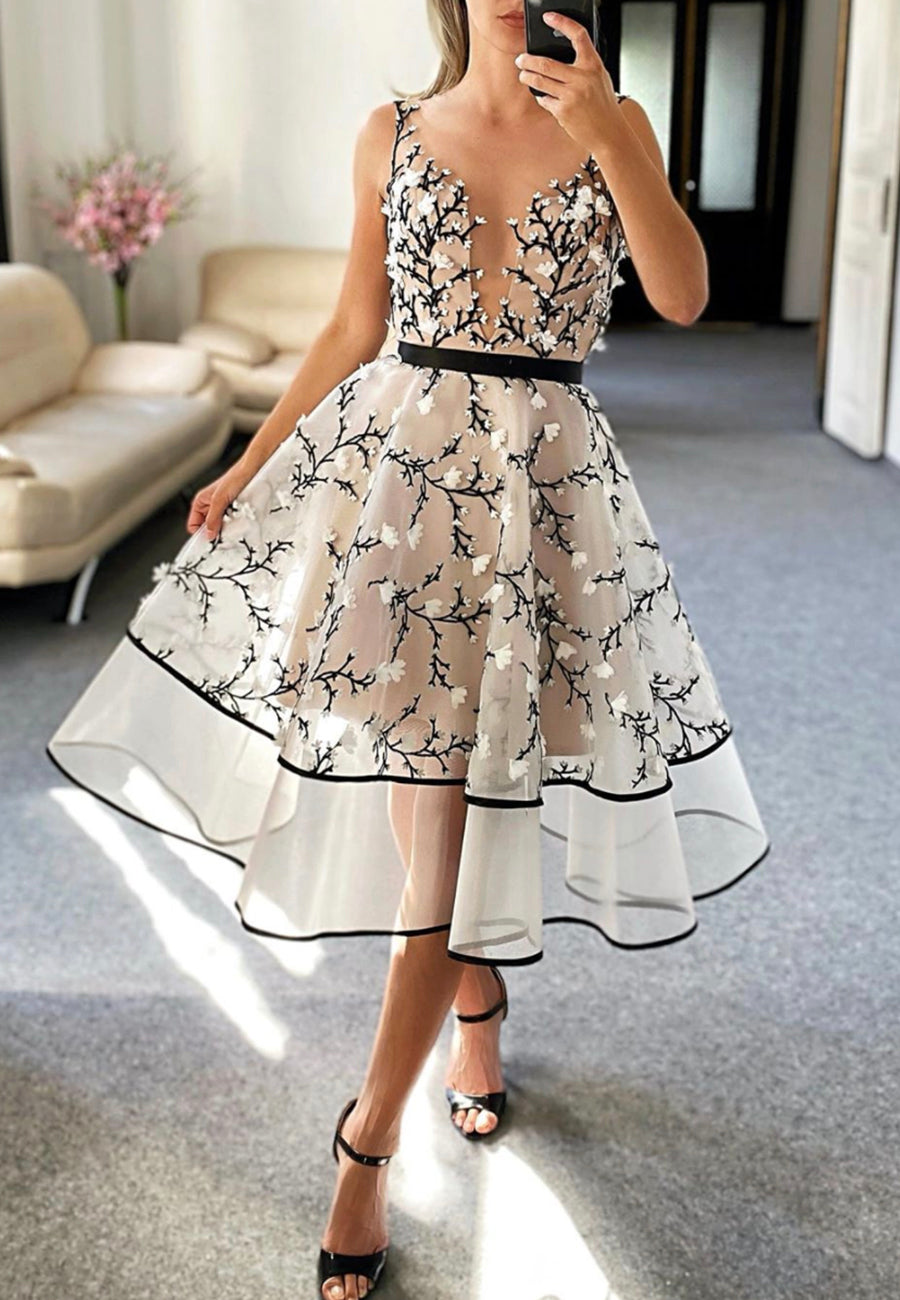 Cute tulle appliqué short prom dress cocktail dress