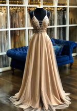 Champagne tulle beads prom dress formal dress