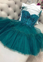 Green A line tulle short prom dress party dress