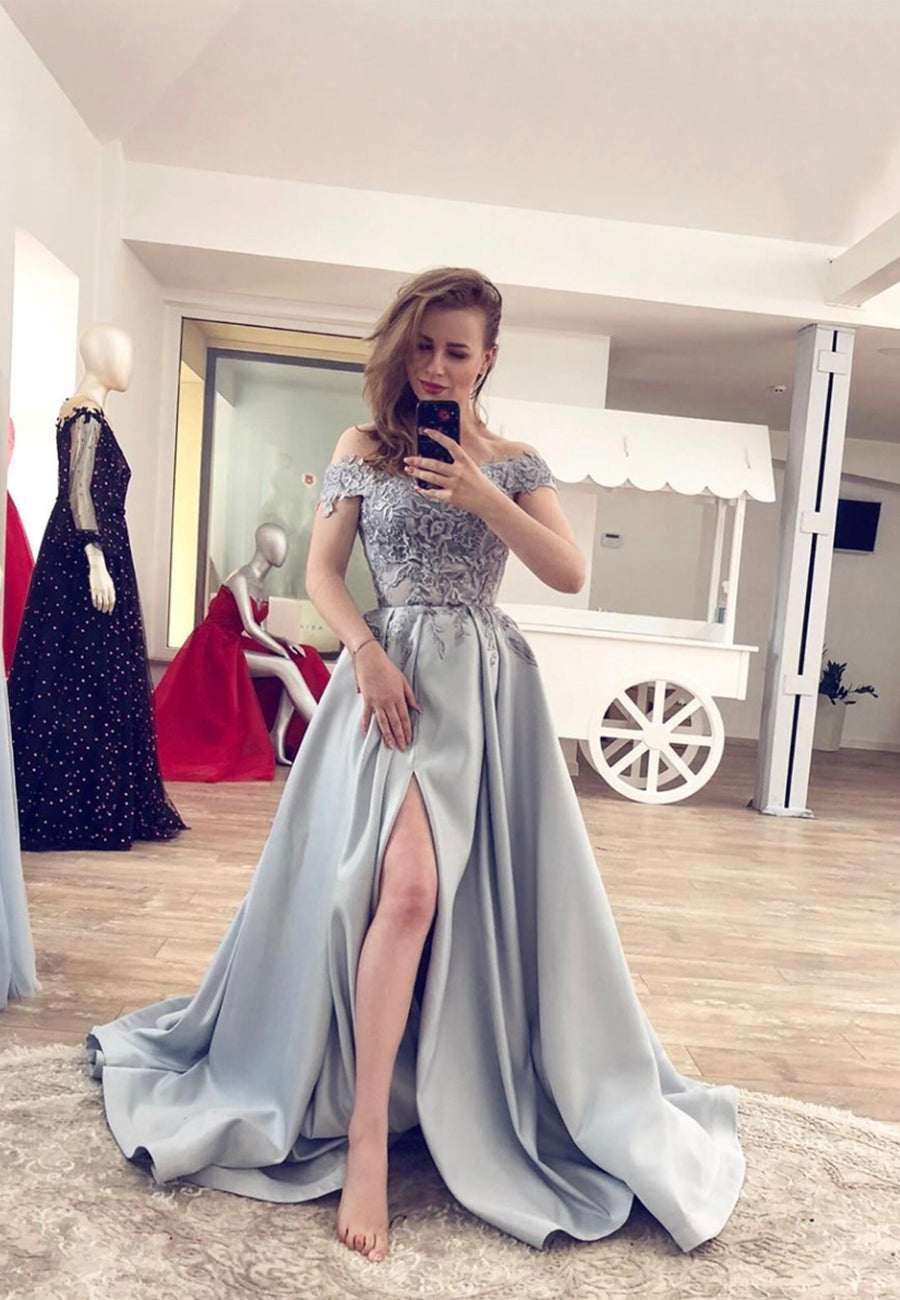 Gray A line lace long prom dress evening dress