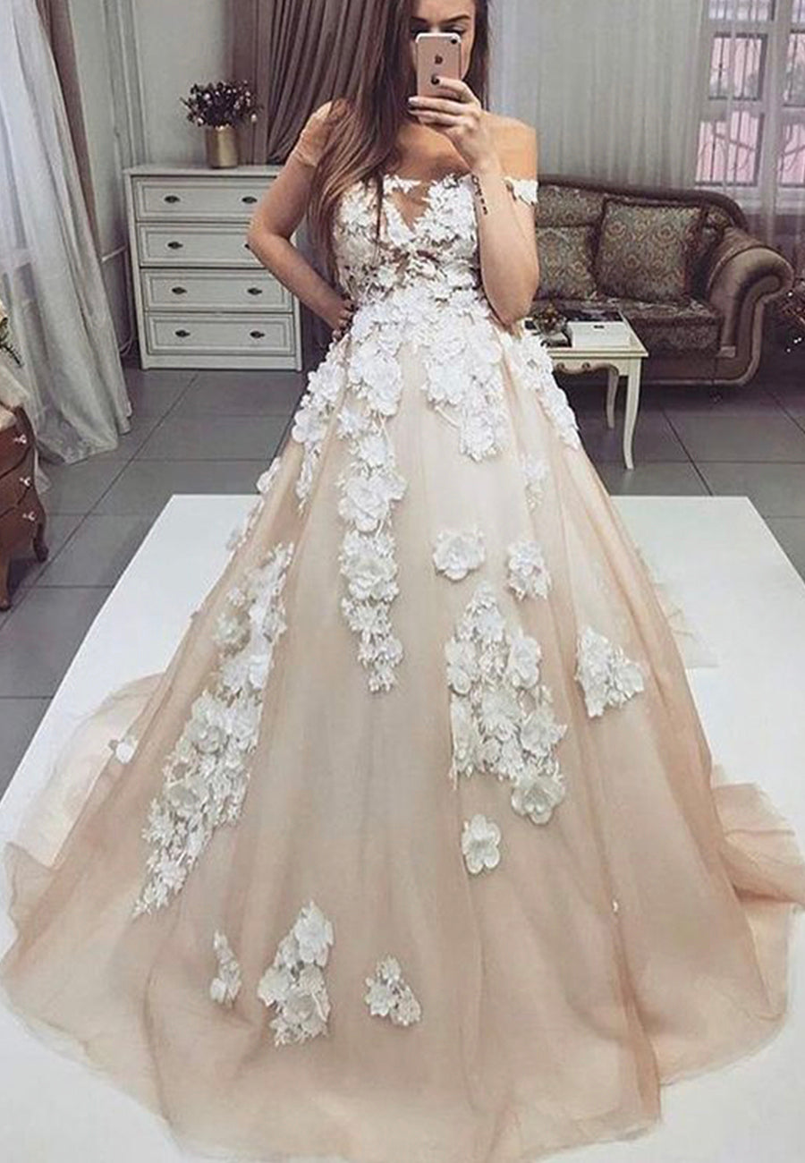 Champagne tulle appliqué prom dress party dress