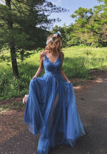Blue tulle lace long prom dress evening dress