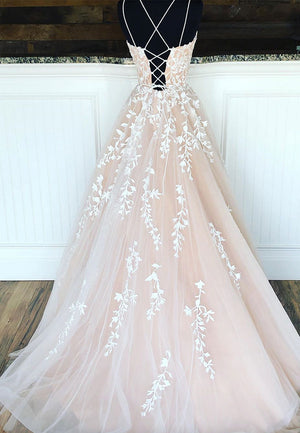 Gorgeous tulle lace ivory ball gown evening dress