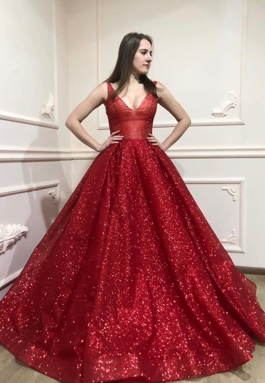 Burgundy sequins long prom gown evening dress