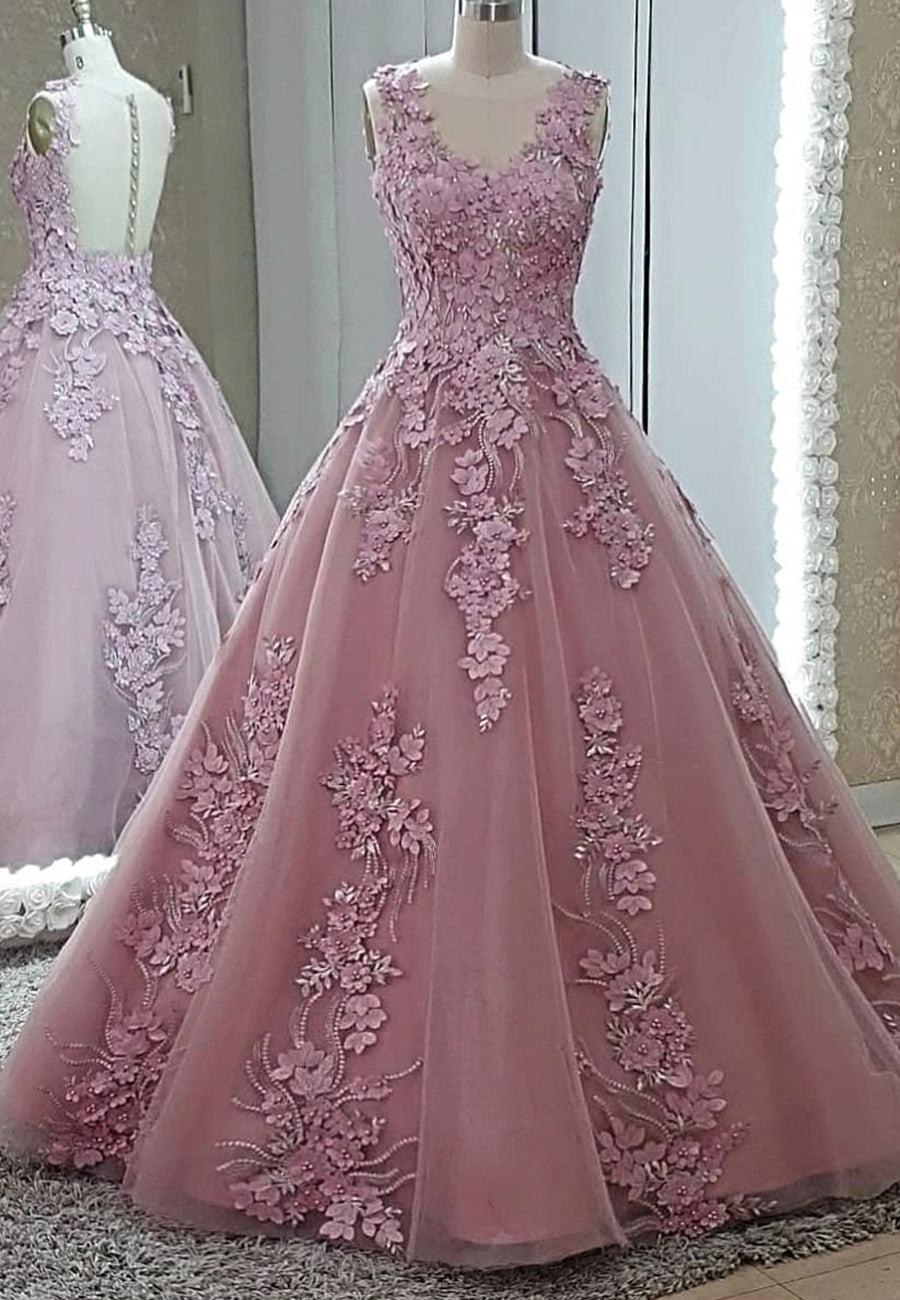 Pink tulle appliqué prom dress evening  dress