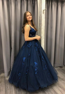 Dark blue tulle lace long prom dress formal dress