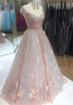 A line tulle lace long prom dress formal dress