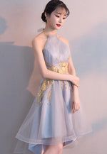 Gray tulle lace high low prom dress hoco dress