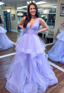 Light purple tulle sequins prom dress party dress