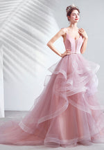 Pink v neck tulle long prom dress sweet 16 dress