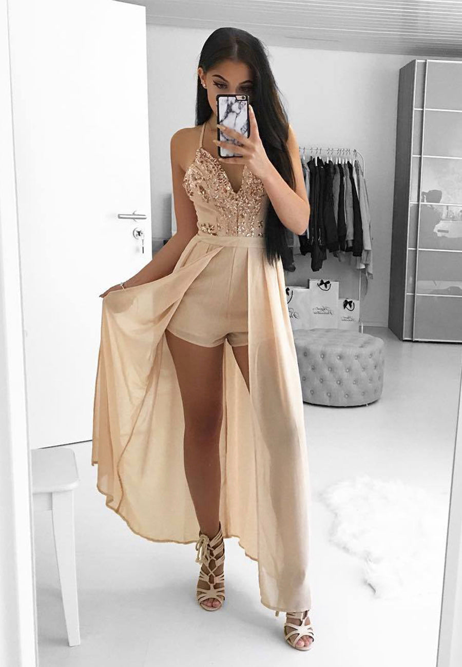 Stylish chiffon sequins prom dress party dress