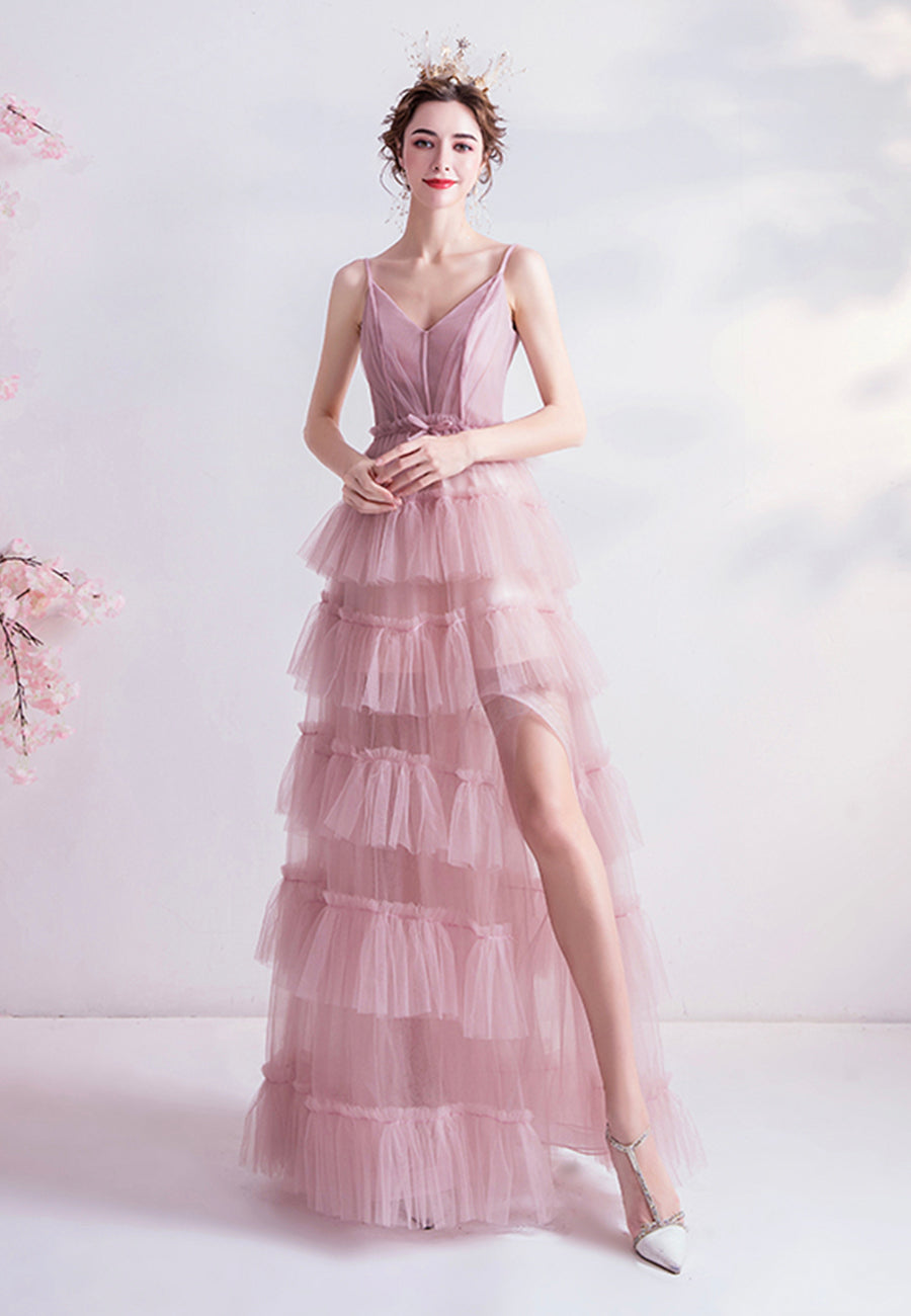 Pink v neck tulle long prom dress evening dress
