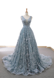 Blue tulle appliqué long a line prom dress