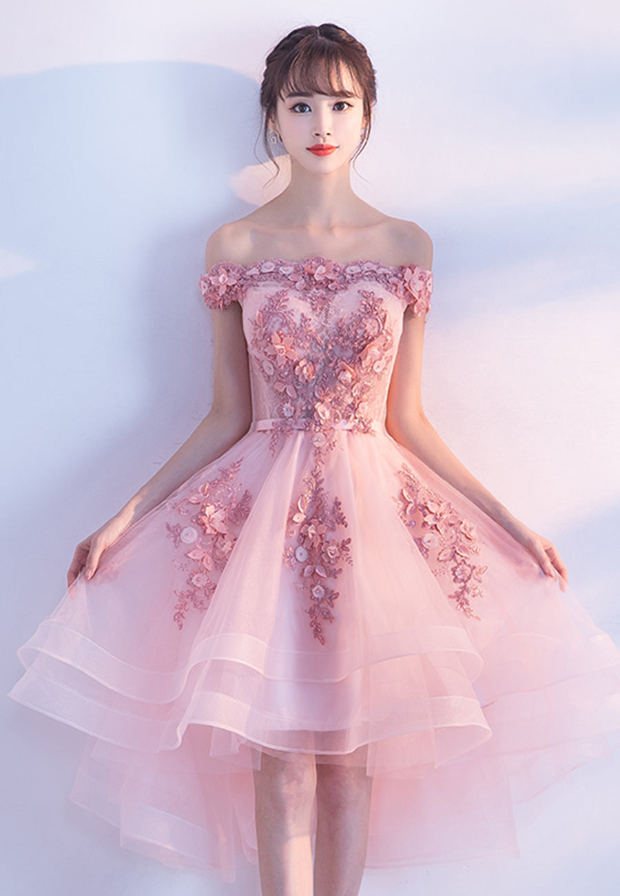 Pink tulle lace short prom dress hoco dress