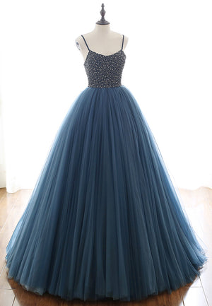 Blue tulle beads long prom gown evening dress