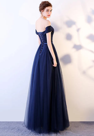 Simple blue tulle long prom dress party dress