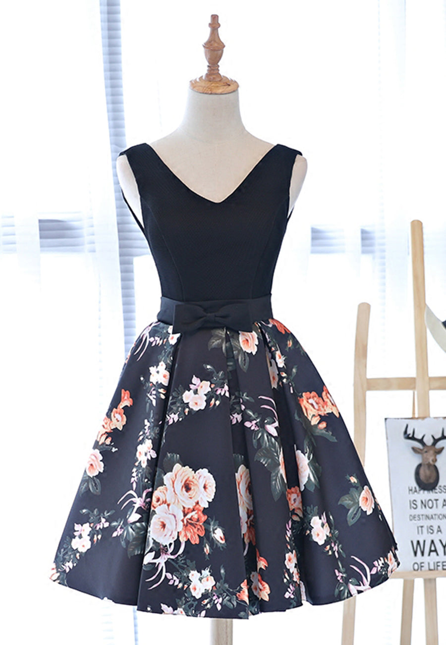 Cute v neck flower pattern short prom dress