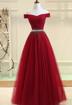 Burgundy tulle beads prom dress evening dress