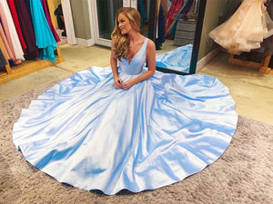 Blue v neck satin long prom dress evening dress