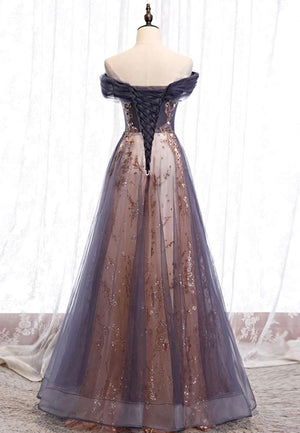 A line lace sequins long prom dress formal dress