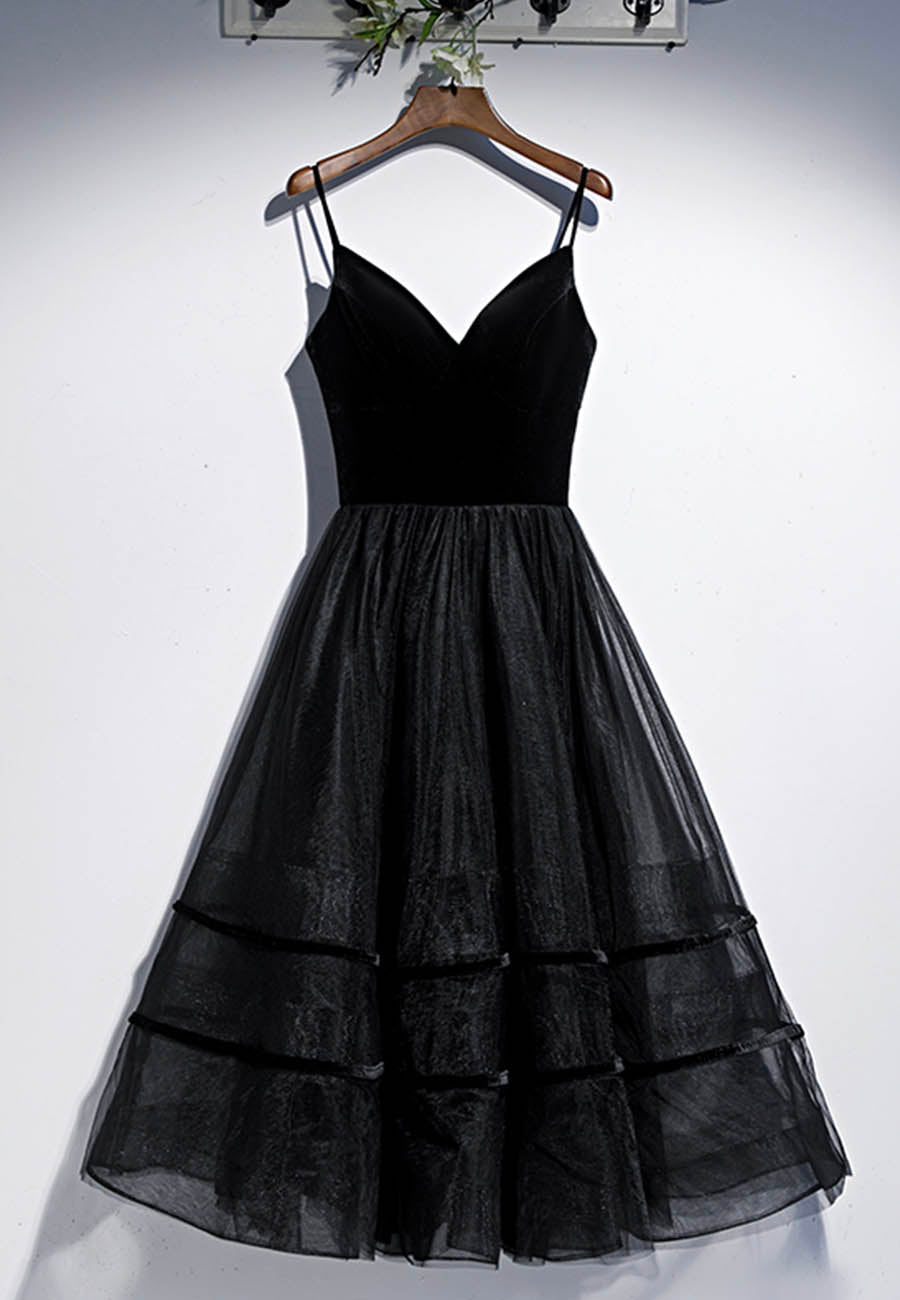 Black velvet tulle short prom dress homecoming dress