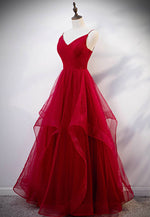 Burgundy tulle floor length prom gown formal dress