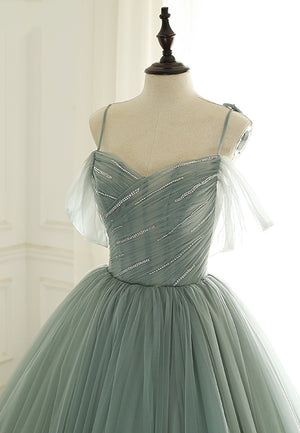 Green tulle long a line prom gown formal dress