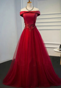 Burgundy tulle lace prom dress evening dress
