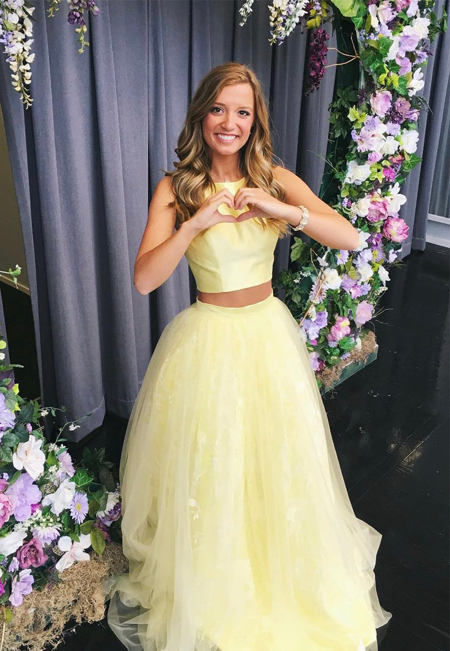 Yellow two pieces long prom dress formal dress