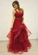 Burgundy v neck lace prom dress party dress