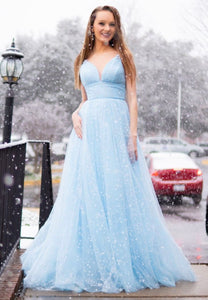 Light blue tulle long prom dress evening dress