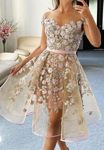 Cute tulle appliqué short prom dress homecoming dress