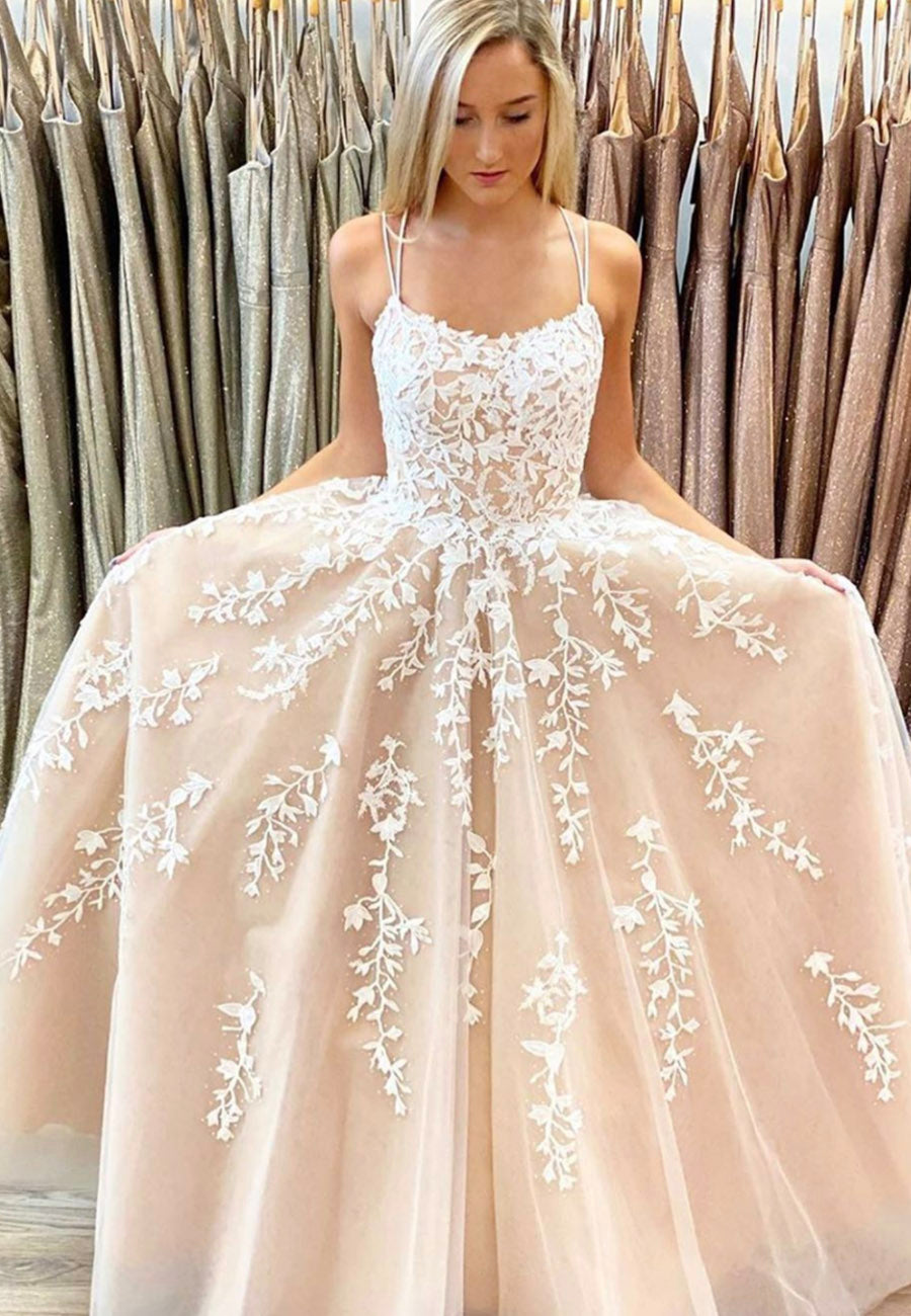 A line tulle lace long ball gown dress formal dress