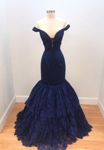 Blue lace long prom dress mermaid evening dress