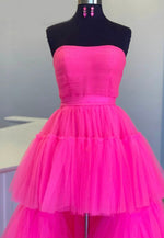 A line tulle high low prom dress evening dress